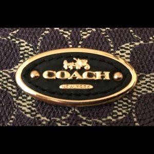 Coach signature black and purple wristlet